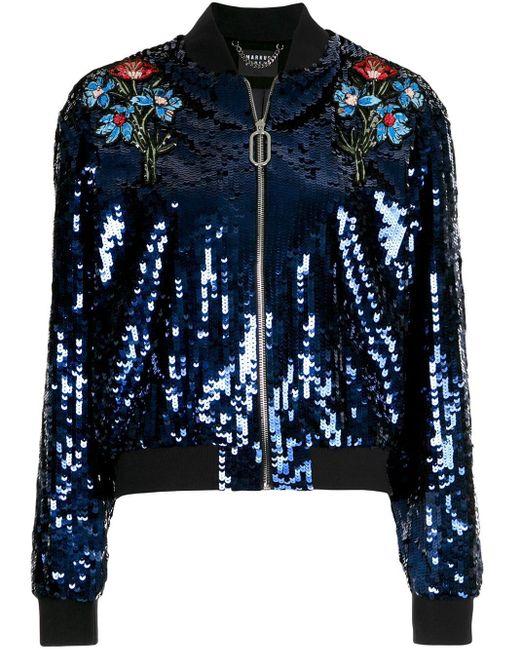 Veste bomber brodée de sequins Markus Lupfer en coloris Blue