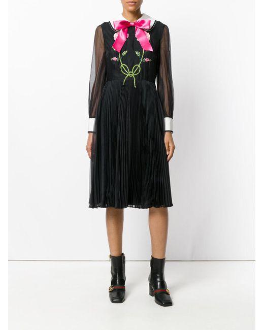 0a6d2533a ... Gucci - Black Bow Tie Dress - Lyst ...