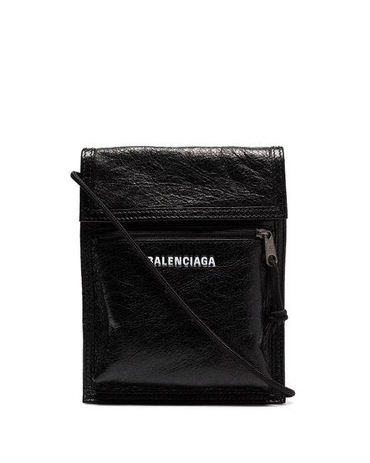 メンズ Balenciaga エクスプローラー ストラップ ポーチ Black