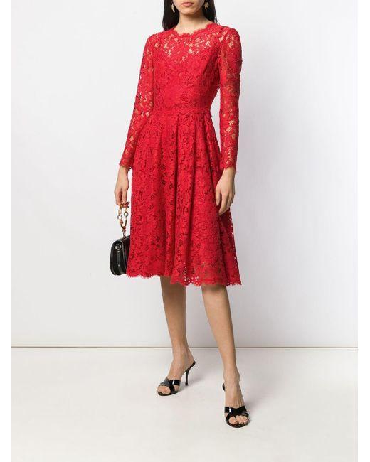 Dolce & Gabbana レース ミディドレス Red