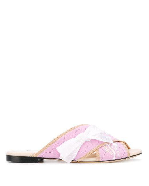 Fendi Sandalias planas de mujer de color rosa