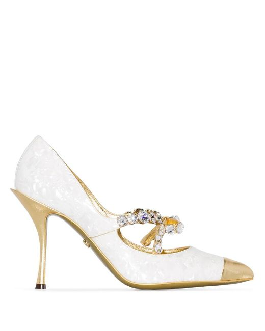 Dolce & Gabbana Lori 90 ビジュー パンプス Metallic