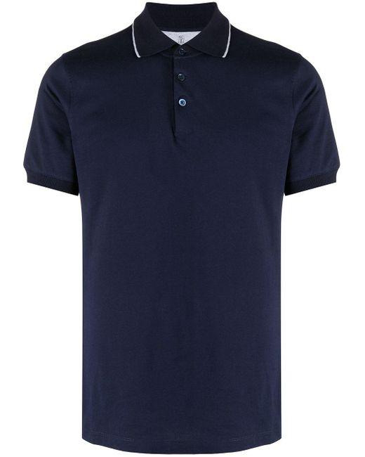 メンズ Brunello Cucinelli コントラストトリム ポロシャツ Blue