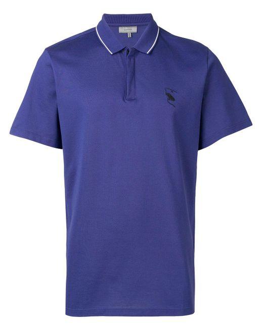 メンズ Lanvin エンブロイダリー ポロシャツ Blue