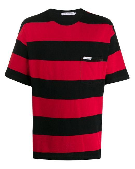 メンズ Calvin Klein ストライプ Tシャツ Red