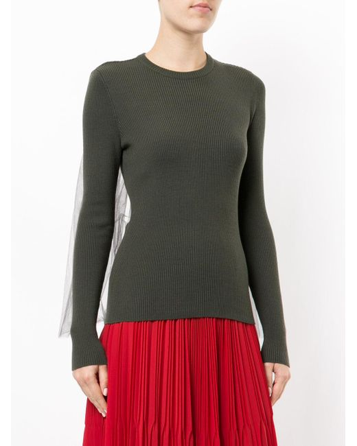 Moschino Green Ribbed Sweater With Tulle Inset