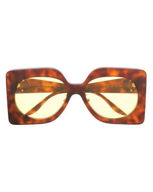 Солнцезащитные Очки В Массивной Квадратной Оправе Gucci, цвет: Brown