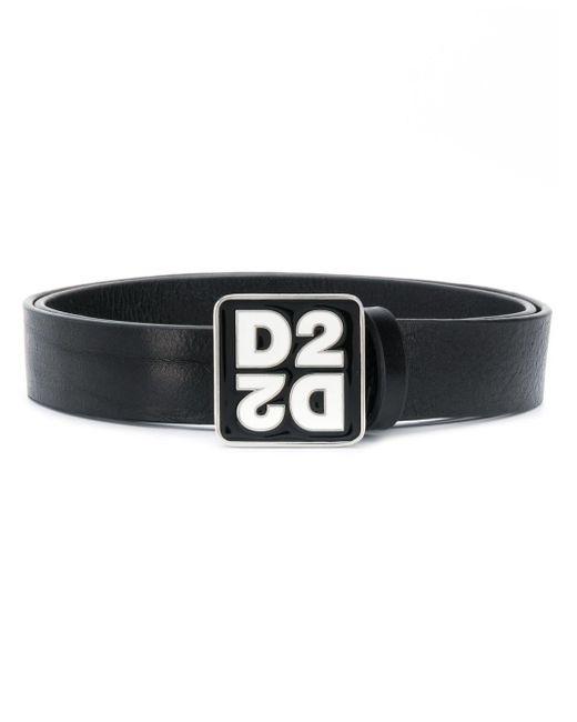 メンズ DSquared² ロゴ バックル ベルト Black