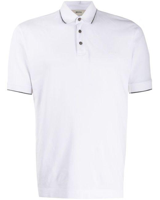 メンズ Z Zegna コントラストトリム ポロシャツ White