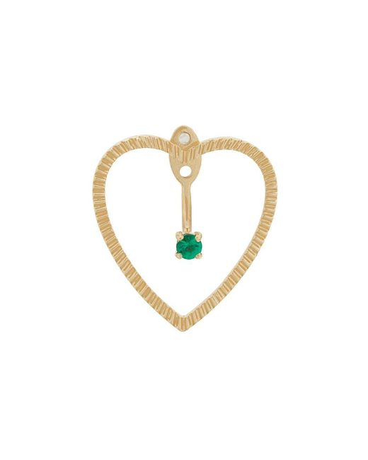 Yvonne Léon Metallic 18kt Gold And Emerald Heart Earrings