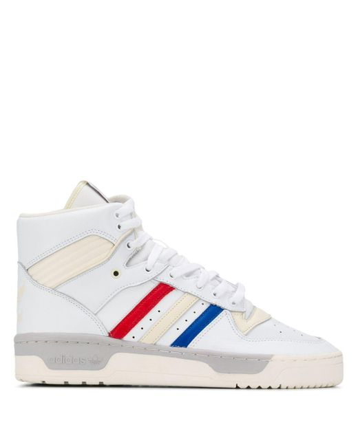 Adidas White Striped Hi-top Sneakers for men