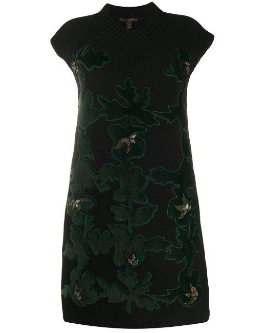 Вязаное Платье С Фактурными Нашивками Pre-owned Louis Vuitton, цвет: Black