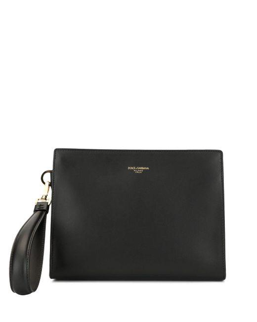 メンズ Dolce & Gabbana レザークラッチバッグ Black