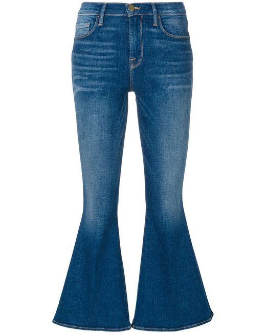 FRAME | Blue Le Crop Bell Jeans | Lyst