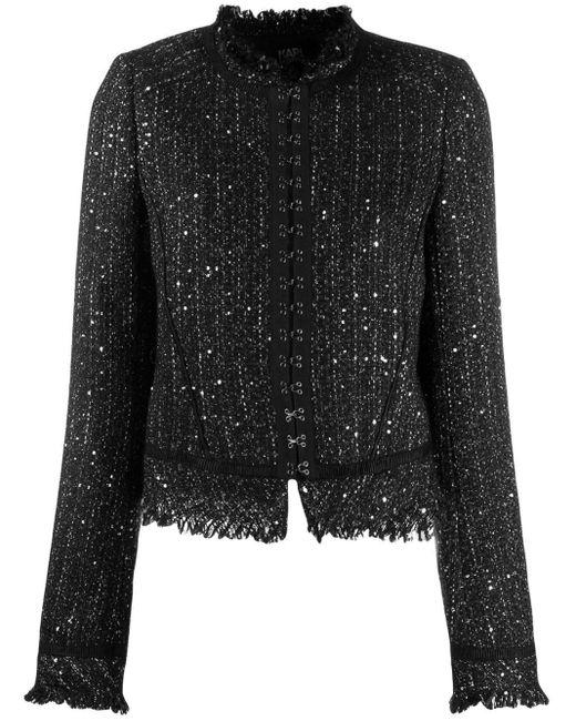 Karl Lagerfeld Black Hook & Eye Tweed Jacket