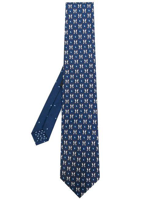 Etro | Blue Penguin Print Tie for Men | Lyst