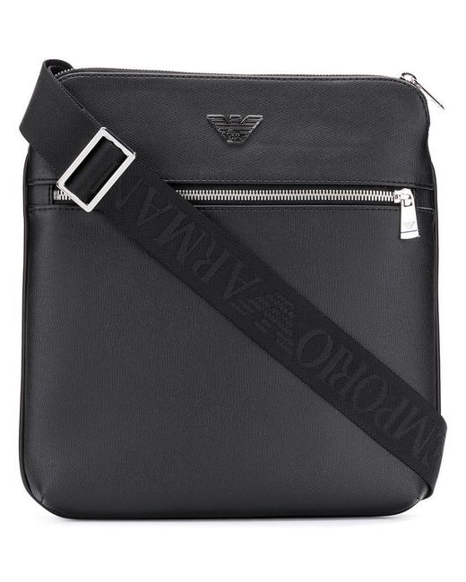 Emporio Armani - Black Logo Plaque Messenger Bag for Men - Lyst ... d6da6352350fb