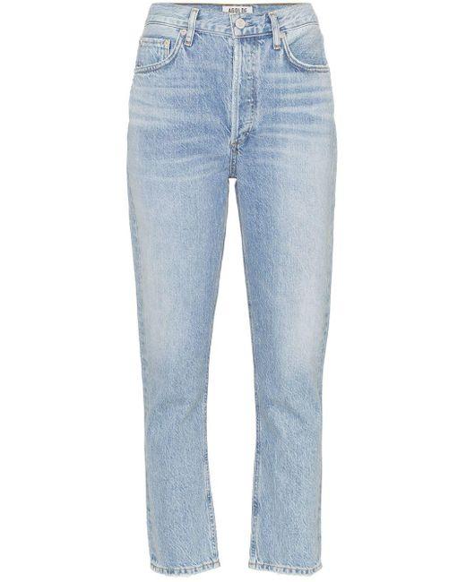 Jeans crop a vita alta di Agolde in Blue