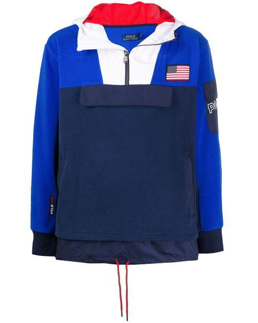 メンズ Polo Ralph Lauren カラーブロック ジップアップ パーカー Blue