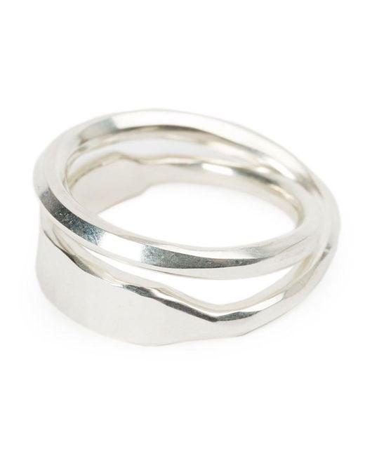 Werkstatt:münchen - Metallic Curved Double Ring - Lyst