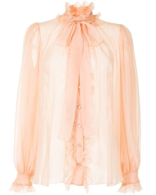 Dolce & Gabbana Pink Pussy-bow Chiffon Blouse