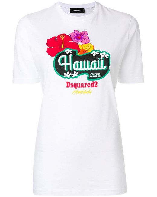 DSquared² - White Hawaii Print T-shirt - Lyst