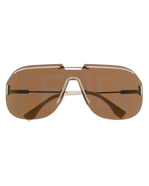 Солнцезащитные Очки-авиаторы С Логотипом Fendi, цвет: Brown