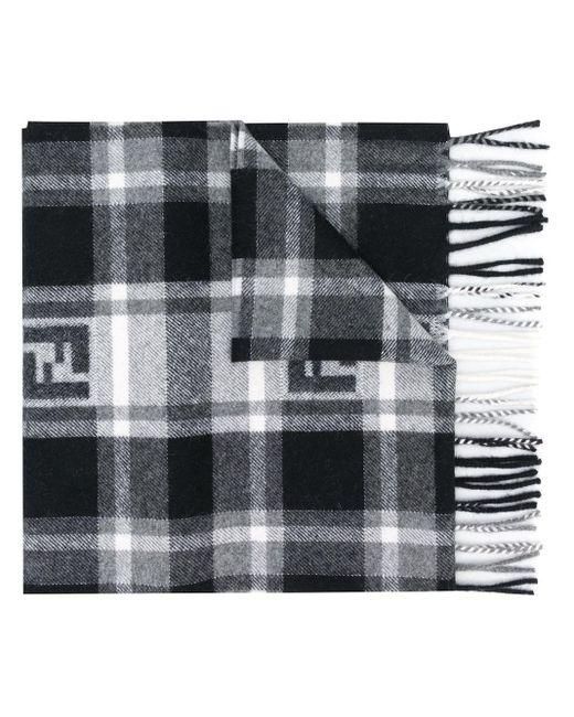 メンズ Fendi モノグラム チェック スカーフ Black