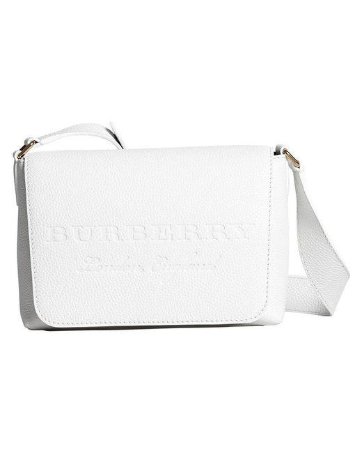 Burberry - White Small Logo Embossed Messenger Bag - Lyst