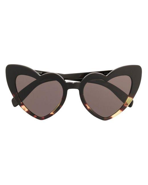 Saint Laurent Black Lou Lou Heart-shaped Sunglasses