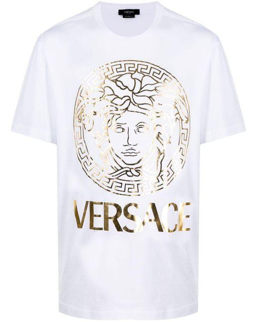 Versace White Medusa-print T-shirt for men