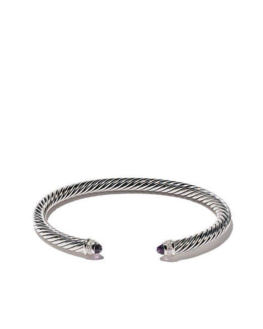 David Yurman - Metallic Cable Classics Amethyst And Diamond Cuff Bracelet - Lyst