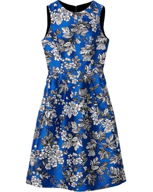Carolina Herrera フローラル ドレス Blue