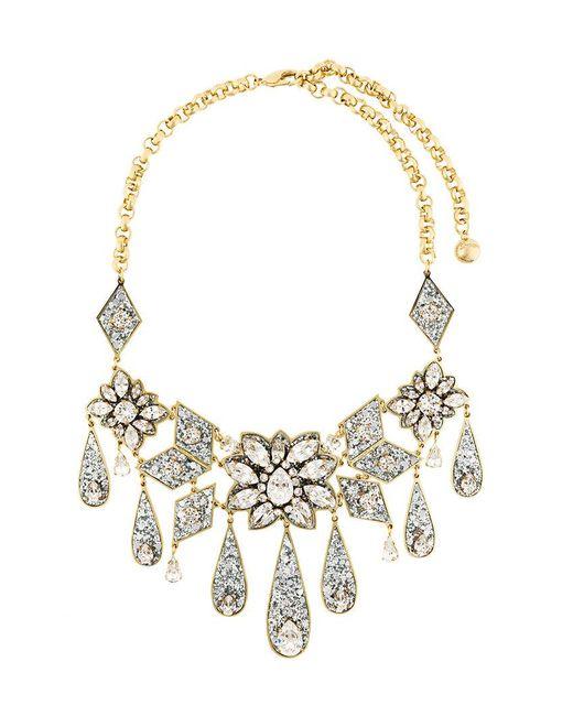 Shourouk - Metallic Teardrop Floral Necklace - Lyst