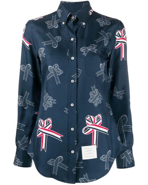 Camicia con stampa di Thom Browne in Blue
