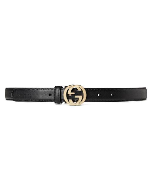 Cinturón con hebilla GG Gucci de color Black