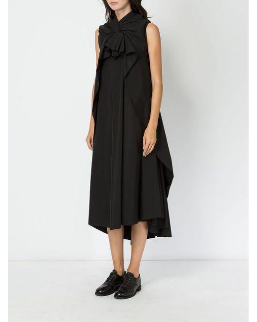 Aganovich Black Oversized Knot Detail Dress