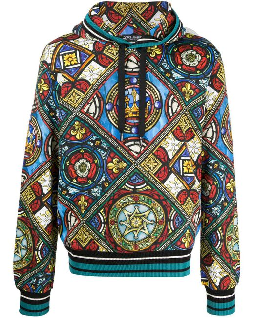 Dolce & Gabbana Blue Stained Glass Window Print Hoodie for men