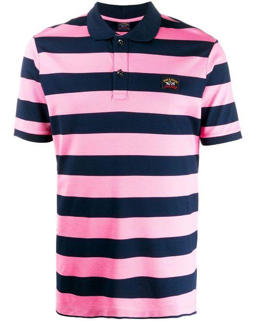 メンズ Paul & Shark ストライプ ポロシャツ Pink