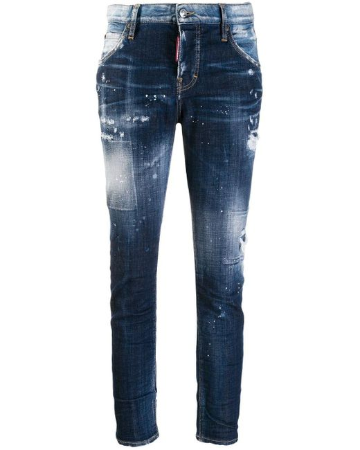 DSquared² Blue Distressed Skinny Jeans