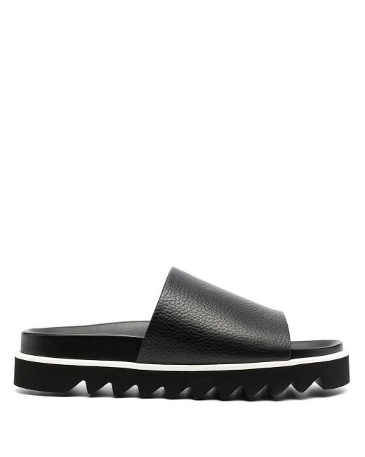 P.A.R.O.S.H. Black Funshoe Leather Slides
