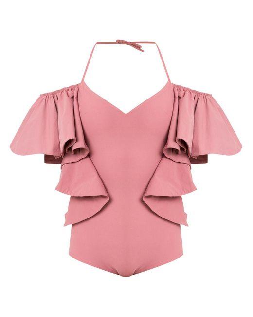 Ruffled Swimsuit Amir Slama, цвет: Pink