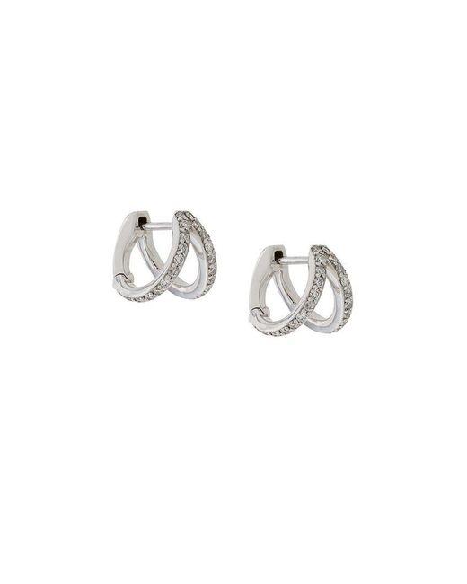 Carbon & Hyde - Metallic Diamond And 14kt White Gold Split huggie Earrings - Lyst