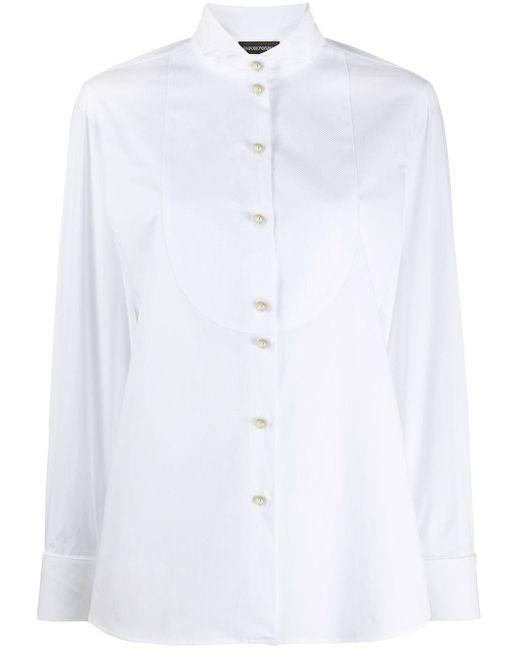 Emporio Armani カッタウェイカラー シャツ White