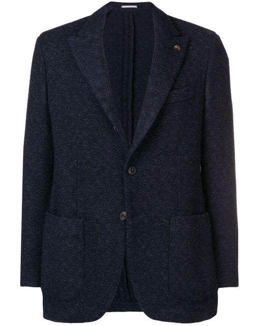 メンズ Gabriele Pasini ヘリンボーン ジャケット Blue