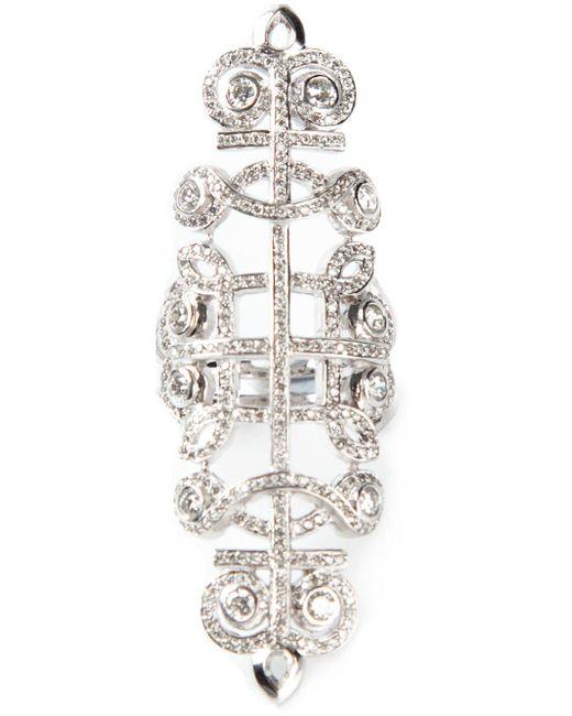 Nikos Koulis Metallic Pavé Diamond Embellished Ring