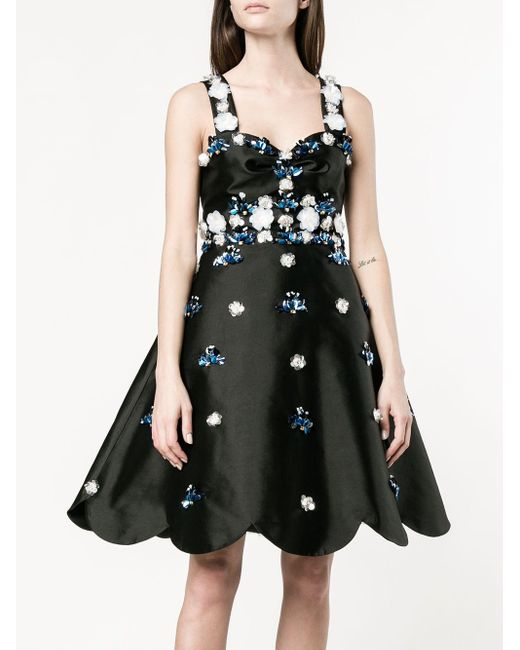 Huishan Zhang Black Floral Sequin Cocktail Dress