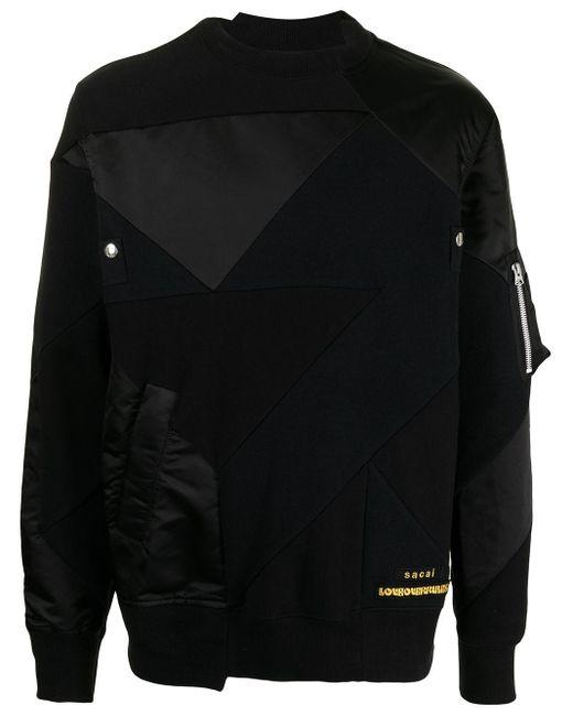 メンズ Sacai コントラストパネル スウェットシャツ Black