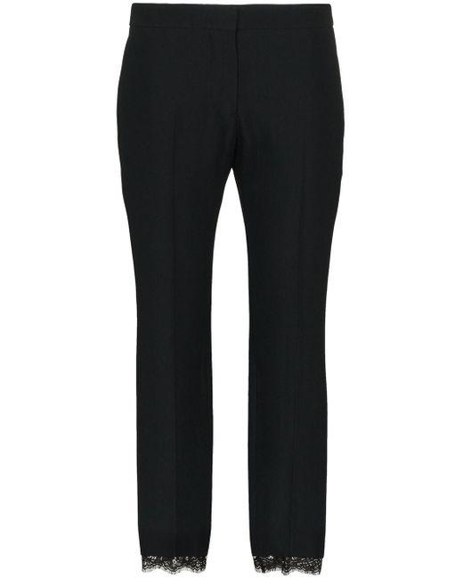 Укороченные Брюки С Кружевной Отделкой Alexander McQueen, цвет: Black