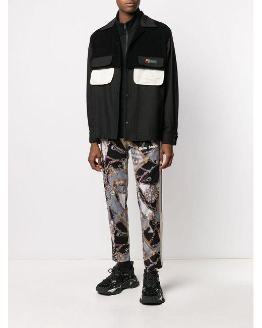 Pantalon De Sport En Techno Imprimé Avec Zip Palm Angels pour homme en coloris Black